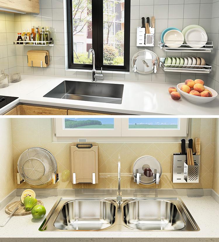 不锈钢厨房用品置物架挂锅免打孔锅盖架刀架刀具收纳架菜板砧板架