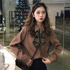2018 autumn student Korean version of the new lace ribbon bow tie wild bottoming shirt shirt was thin women's clothing