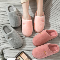 Autumn and winter cotton slippers female couple new indoor anti-skid thick bottom home home plush warm hair drag month shoes men