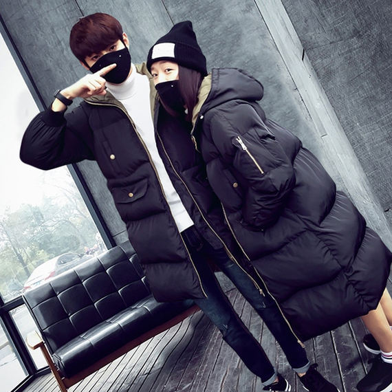 Anti-season clearance couples coats in the long section of the winter Korean version of the bread service female cotton jacket loose thick cotton coat jacket male