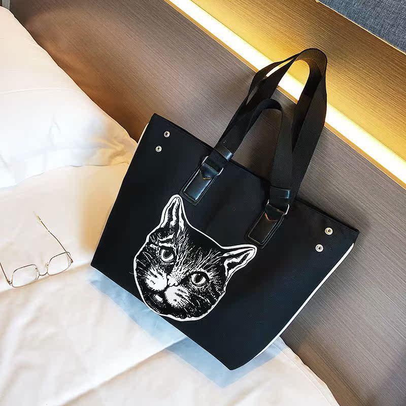 夏季新品环保帆布可爱猫头手提大包单肩女包包电脑包书包购物袋