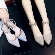2018 spring and summer new word buckle rhinestone student silver low with 4cm bridesmaid shoes high heels shoes sandals women