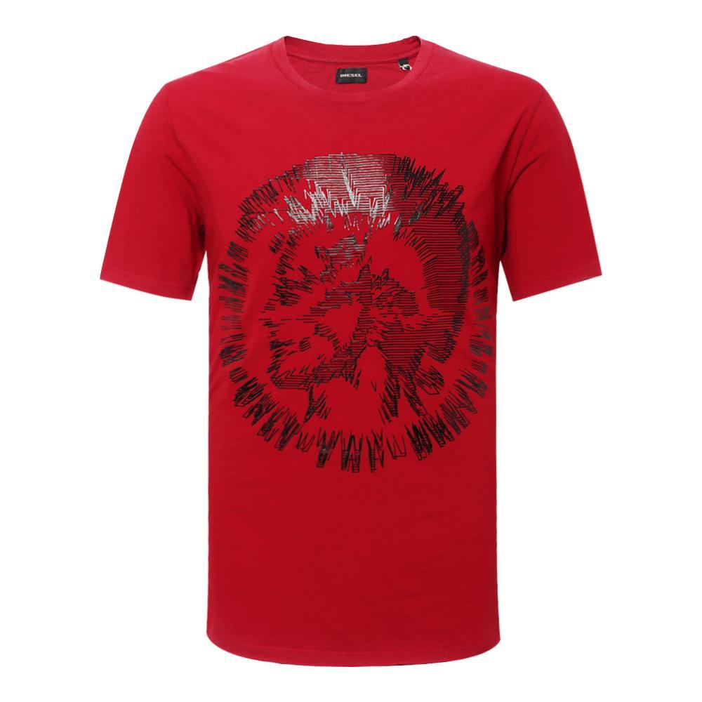 Diesel 红色抽象图案短袖T恤