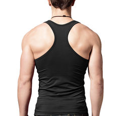 Summer vest men's cotton stretch Slim bodybuilding tight solid color narrow shoulders large yards under the word vest tide