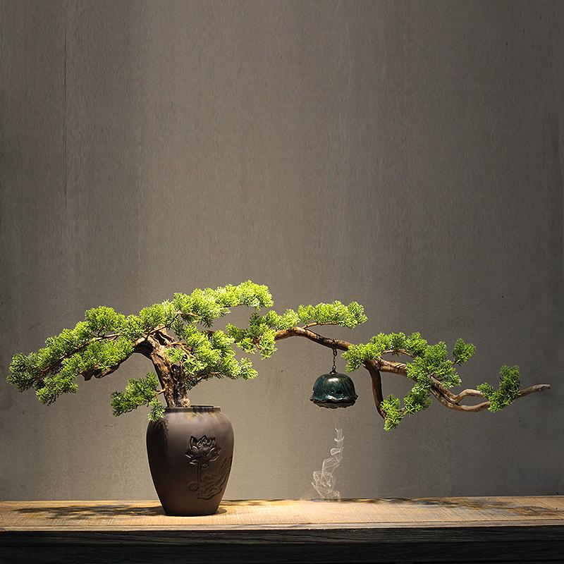 新中式风化木根雕迎客松陶瓷花盆禅意摆件 倒流香会所软装博古架