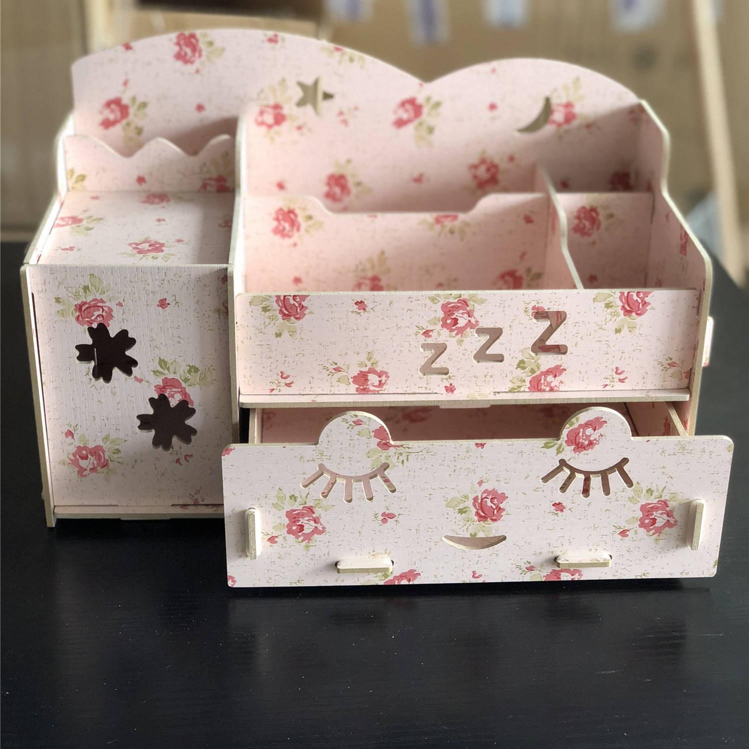 【超便携】化妆品收纳盒木质化妆盒子梳妆台卧室首饰盒桌面收纳盒
