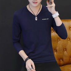 Autumn cotton long-sleeved V-neck T-shirt inside the shaft long section of cotton autumn clothes close-fitting 丅桖 打 bottoming shirt t blood male