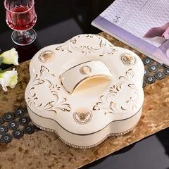 欧式陶瓷家用创意时尚干果盒分格帯盖多用糖果零食客厅水果盘摆件