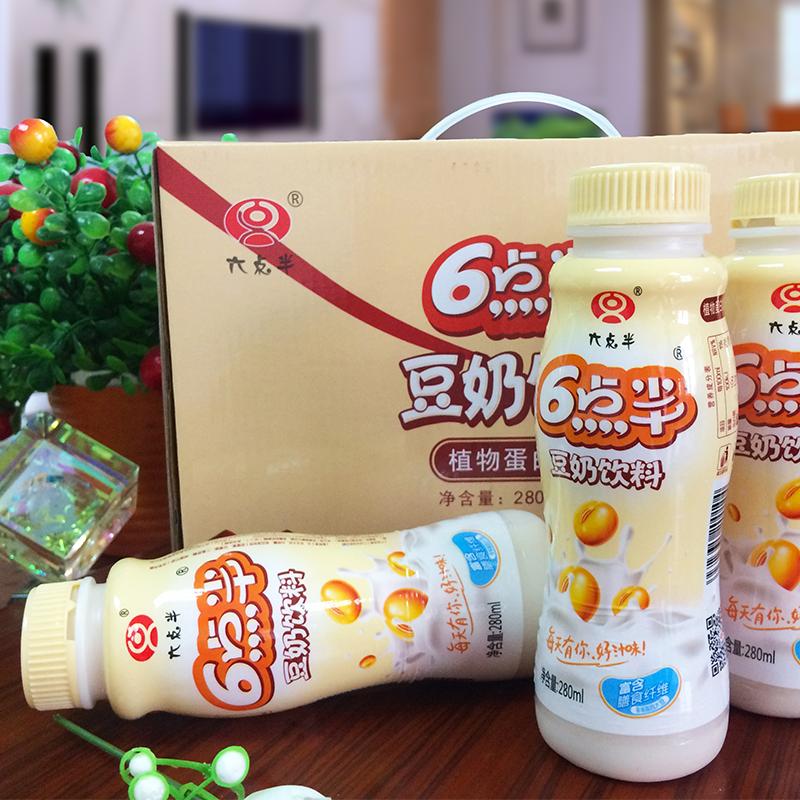 六点半豆奶PE280ml*12瓶营养早餐食品原味豆奶饮料瓶装低脂饮料