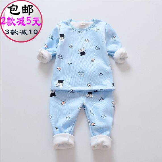 Baby warm men four 5 five 6 six 7 seven 12 eighty nine months female baby underwear clothing autumn and winter wear 0-1-2 years old