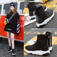 Elastic socks shoes women's increased short boots Korean ulzzang thick bottom versatile flat casual sports high shoes