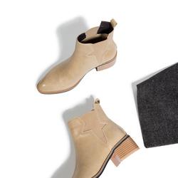 岛上定制 2017新款切尔西靴中跟短靴粗跟裸靴圆头单靴真皮女鞋冬