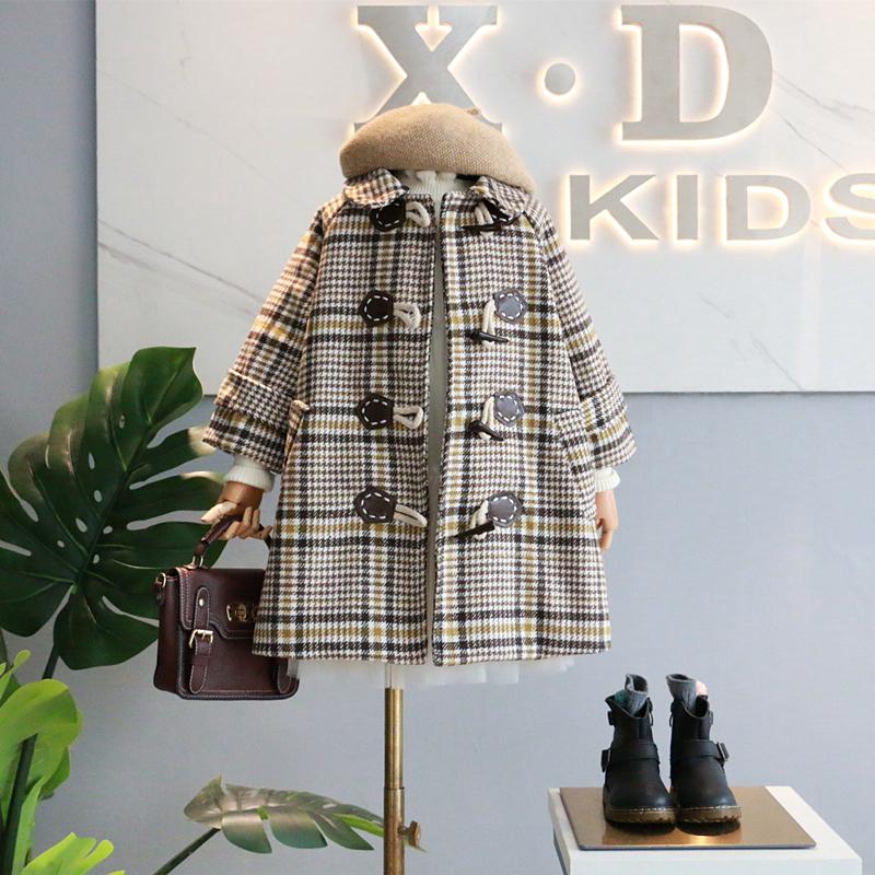 包邮童装18秋冬新款女童学院风格子单排扣中长款风衣翻领呢子外套