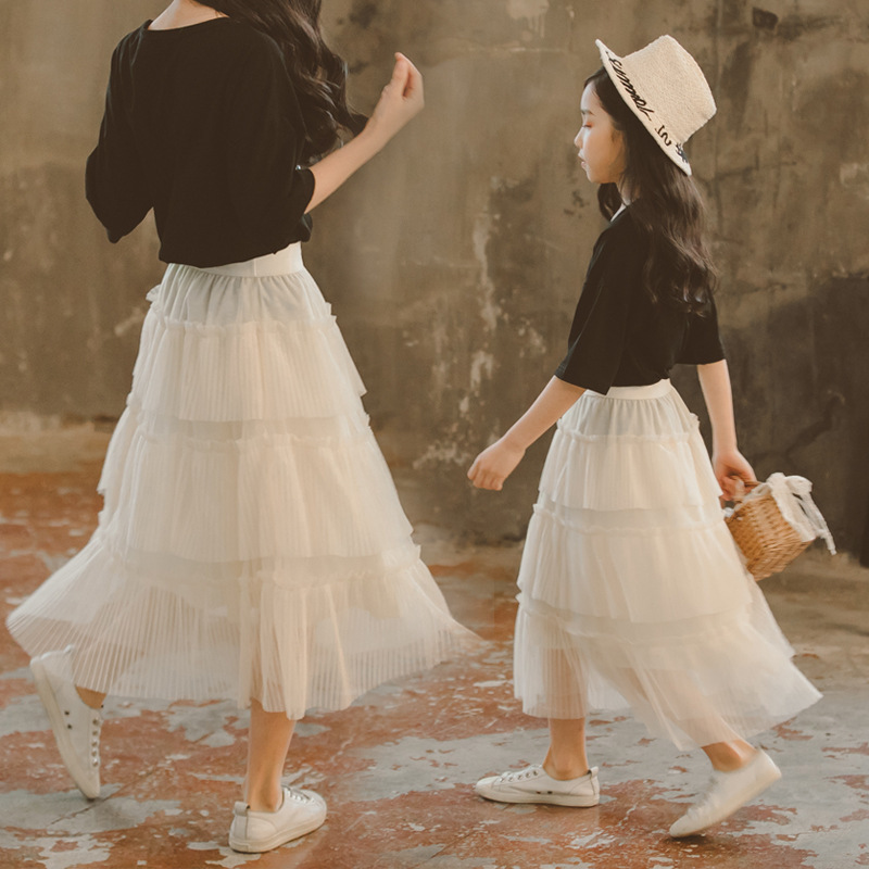 2019夏装女童半身裙纱裙中大童儿童夏季洋气公主网纱长裙蛋糕夏裙