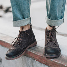 Spring Martin boots men's high boots boots men's British boots round head leather retro men's shoes casual shoes men's boots