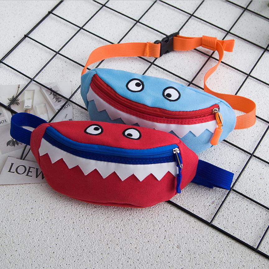 儿童鲨鱼斜挎包腰包背包小怪兽百搭儿童包