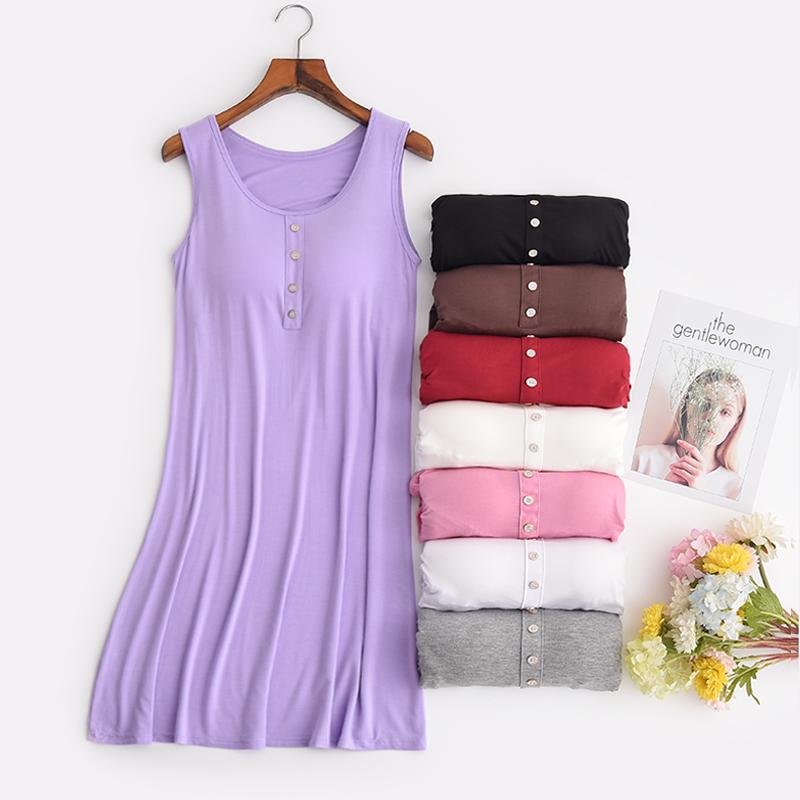 莫代尔带胸垫吊带睡裙性感女夏季睡衣大码宽松家居服上衣可外穿