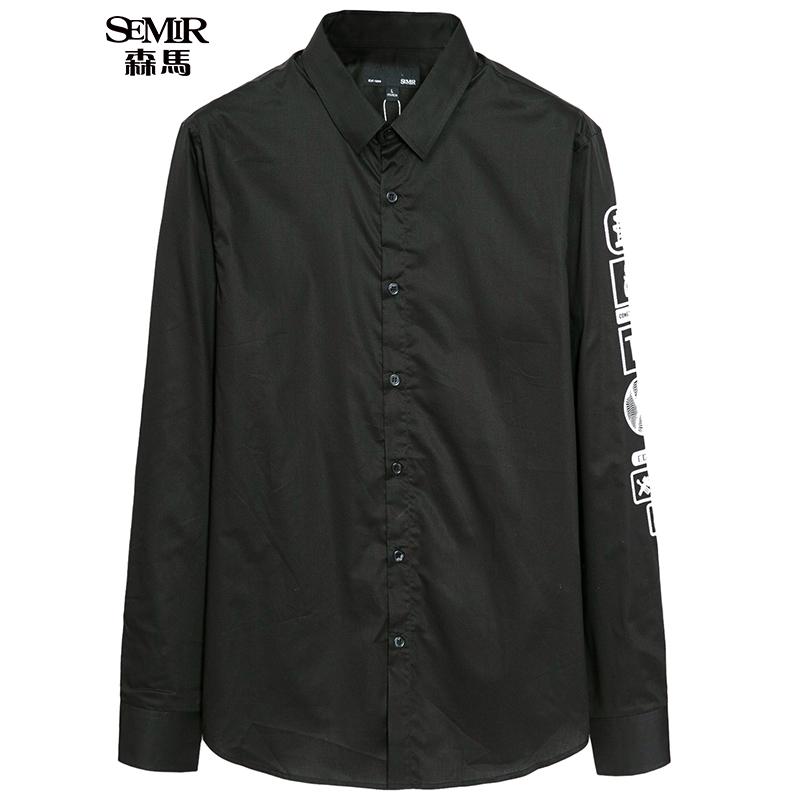 森马长袖衬衫 秋季新款 男士方领创意标志印花长袖休闲衬衣潮