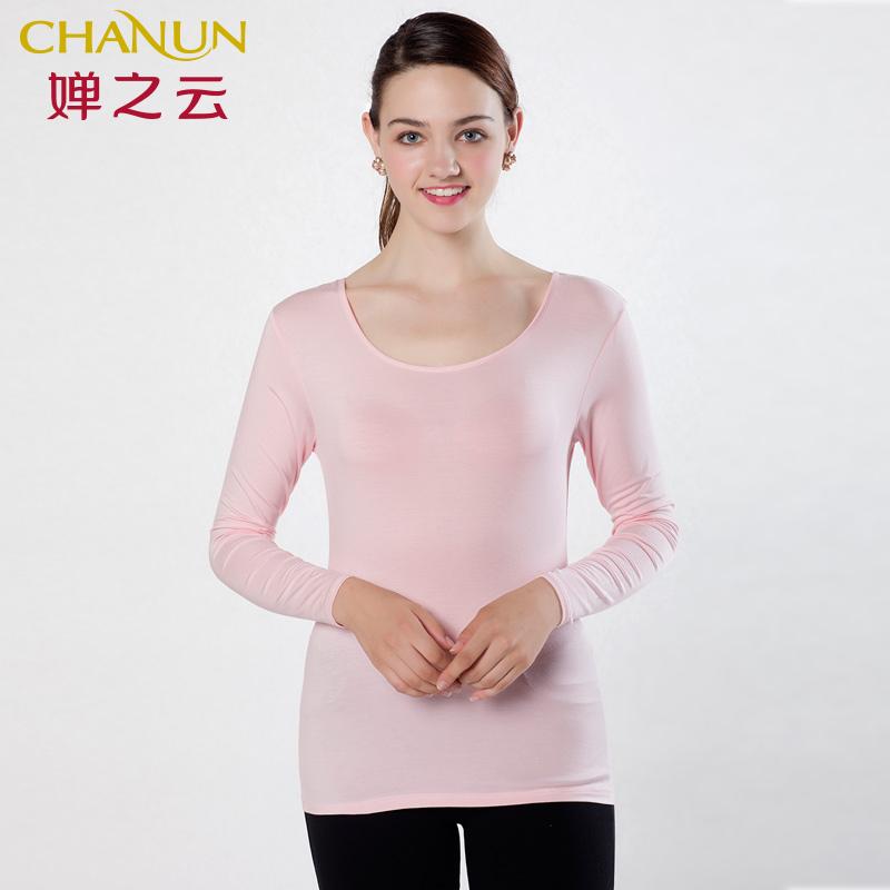 婵之云春夏新款内衣女长袖圆领打底衫薄款上装F710101