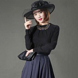 希哥弟思媞正品国内代购2019秋装新款黑色修身羊绒套头长袖针织衫