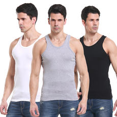 Men's sweat vest summer stretch men's cotton vest middle-aged men's loose cotton breathable sweat-absorbing tight youth