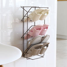 Creative wall-mounted three-dimensional multi-layer shoe rack simple household paste shoe storage rack bathroom put slippers shelf