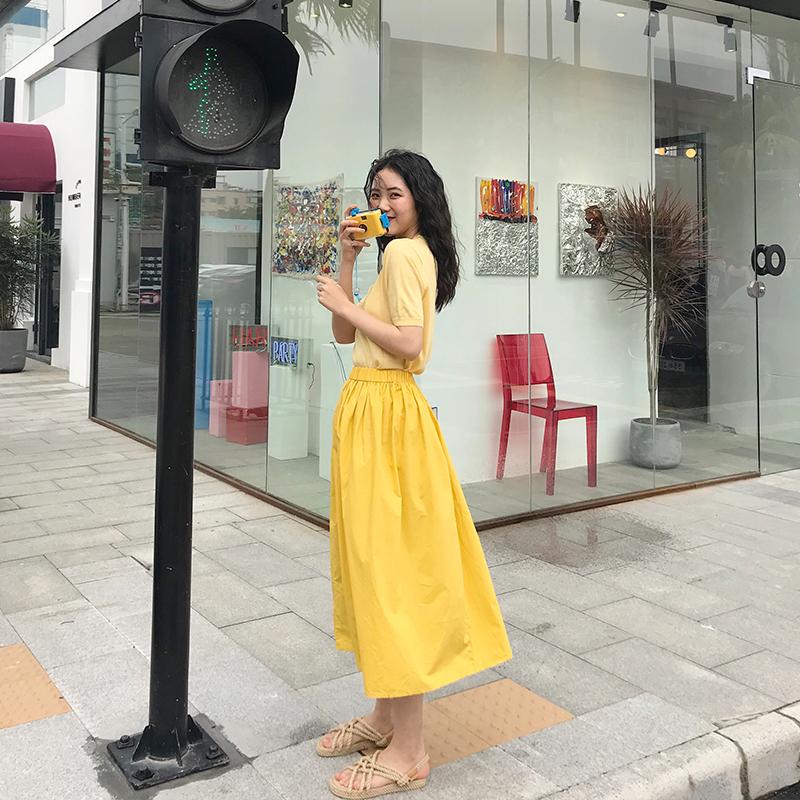 港味半身裙女chic韩版中长款2019新款松紧高腰大摆裙气质伞裙