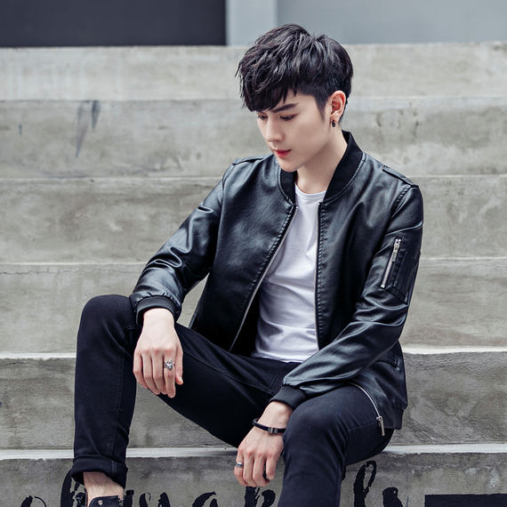 New men's leather jacket youth handsome boy jacket 14-15-16-19-25 years old high school student leather jacket