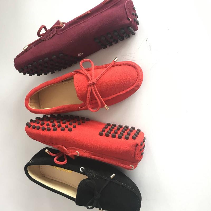足意绽真皮女鞋蝴蝶结豆豆鞋低帮休闲舒适牛筋女士手工缝线懒人鞋