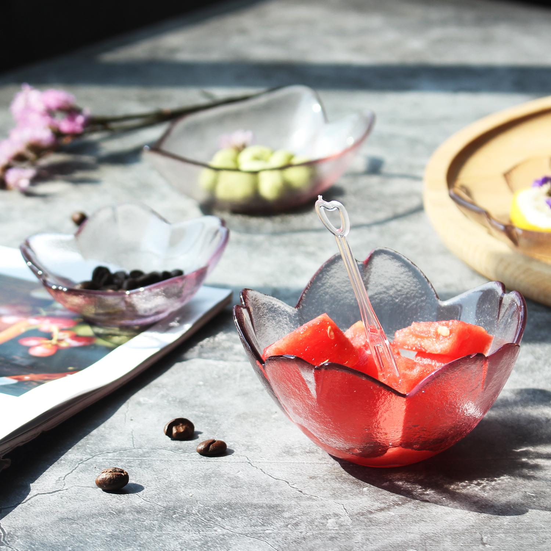 粉色樱花碟子日式玻璃小菜碟家用可爱异形调味小吃蝶酱料碟沾水碟