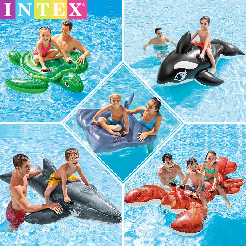 INTEX水上充气坐骑ins网红泳池戏水玩具浮排浮床躺椅动物泳圈座圈