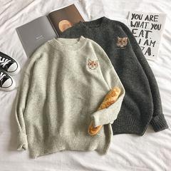 秋冬慵懒bf风宽松套头毛衣女韩版学生可爱甜美软妹猫咪针织衫外套