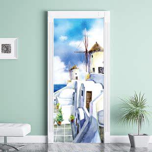 北欧风景门贴纸墙贴 推拉宿舍木门翻新 卧室自粘衣柜创意装饰门贴