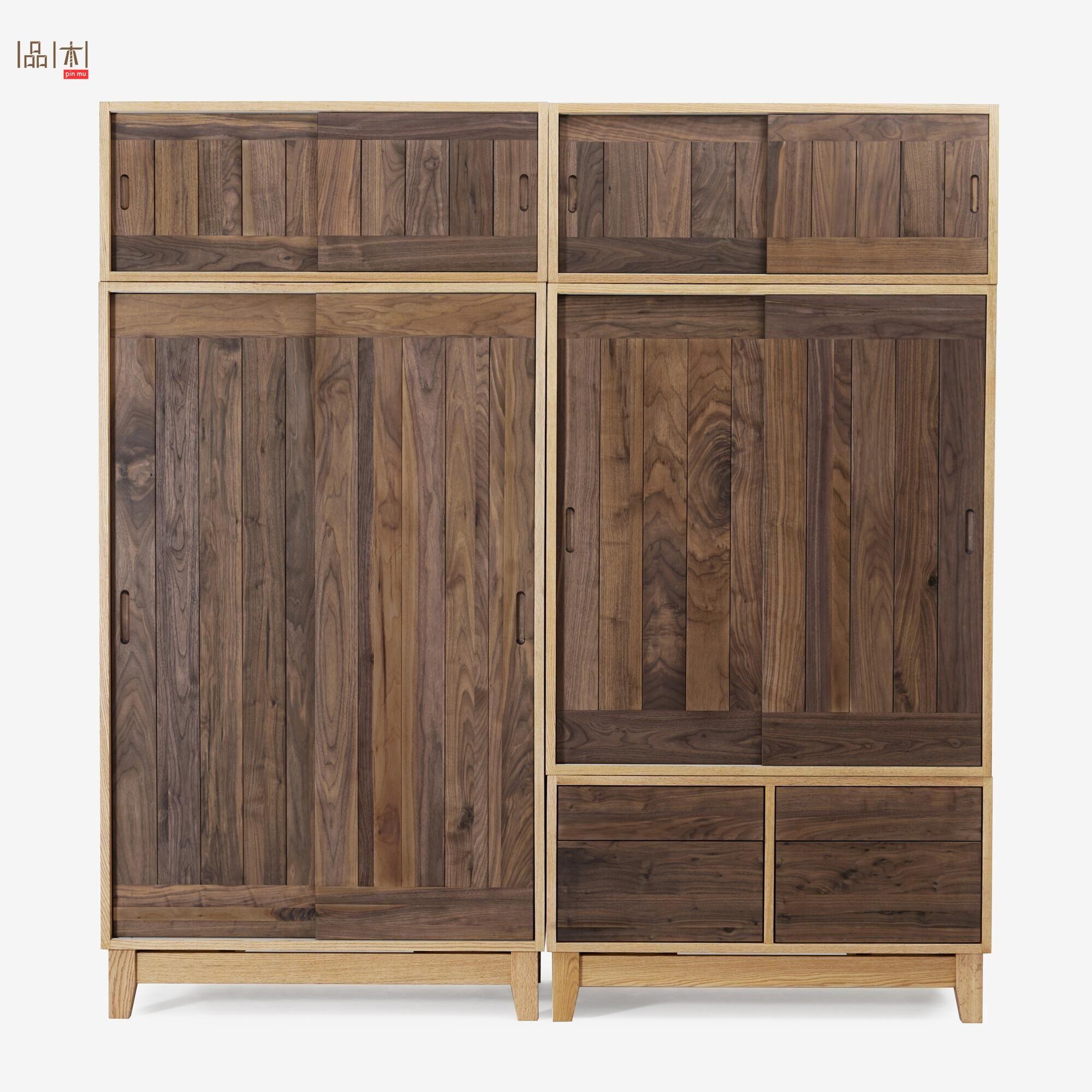 北欧全实木衣橱橡木黑胡桃木组合大衣柜推拉移门简约被褥收纳柜