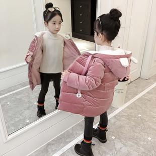 女童金丝绒棉袄2017新款羽绒棉服童装洋气冬装5外套儿童棉衣6岁潮
