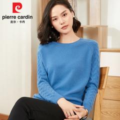 韩版宽松低圆领加厚100%纯羊毛衫皮尔卡丹女装2018冬打底针织毛衣