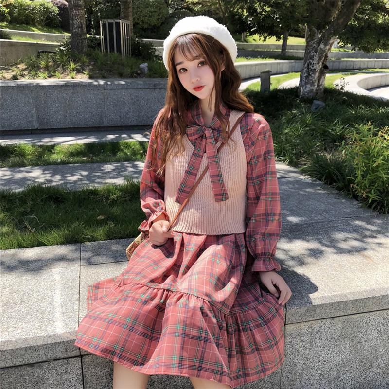 马甲配裙子两件套装女秋季2018新款韩版宽松连衣裙+百搭毛衣背心