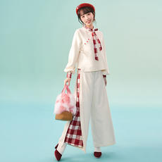 [Red chrysanthemum] plaid shirt trousers daily wild style national wind