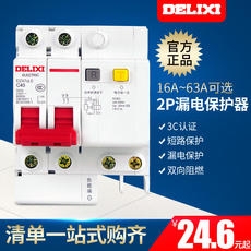 Delixi miniature circuit breaker air switch with leakage protector 2P bipolar 16A20A25A32A40A63A