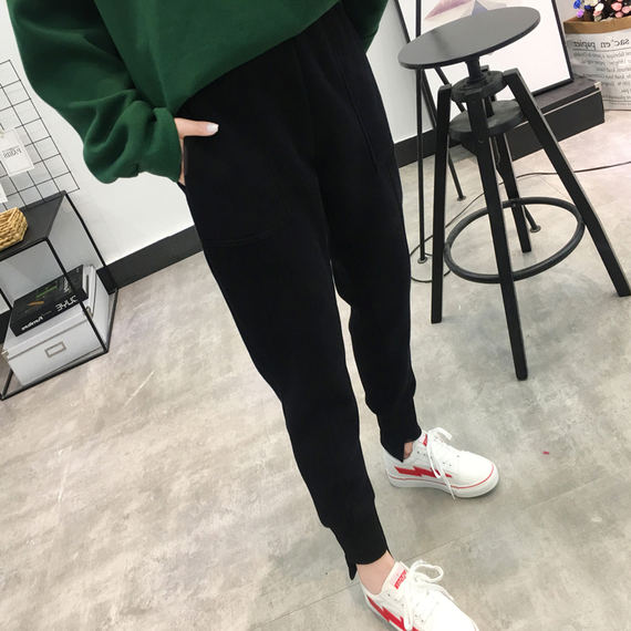 Sports pants female 2018 autumn and winter new Korean version of the small feet harem pants loose thin plus velvet thick casual pants Wei pants