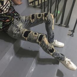 欧美高街潮牌amiri浅色牛仔裤男磨白刮烂破洞丐裤镶钻修身小脚裤