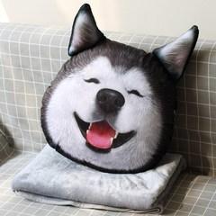 3D汽车二哈狗头抱枕哈士奇被子两用午休毯子靠垫办公室沙发腰靠枕