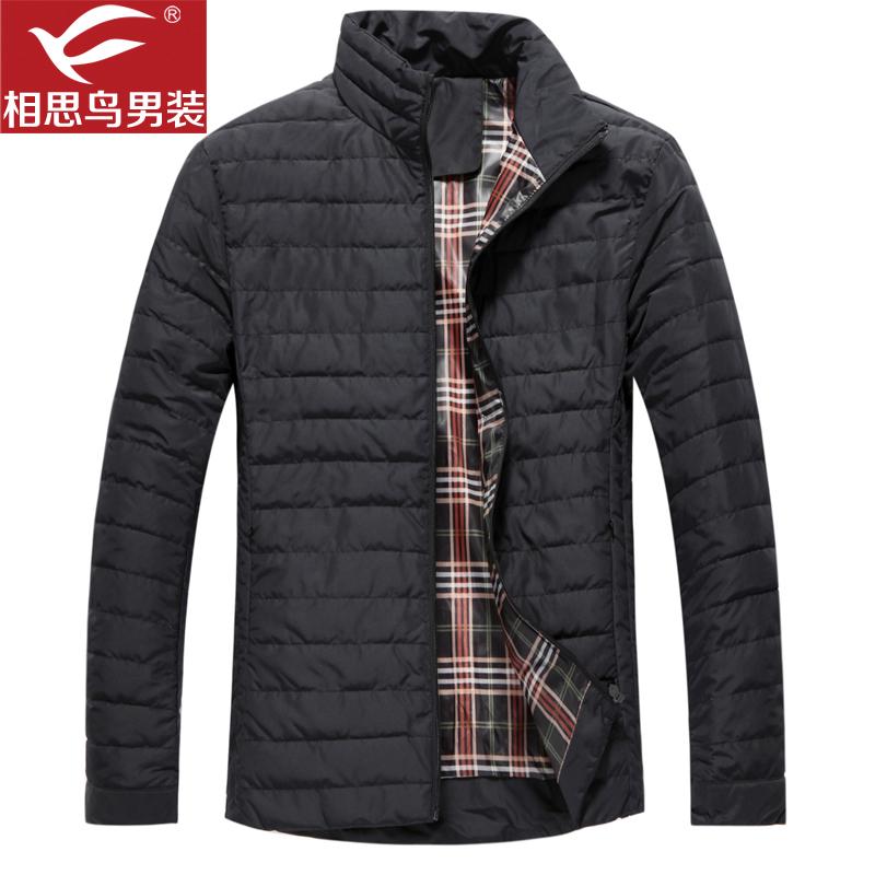 红豆相思鸟男装新款男士修身时尚棉服黑色修身休闲棉外套