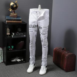 2018新款欧美风秋季牛仔裤男修身个性印花白色长裤子潮流时尚潮牌