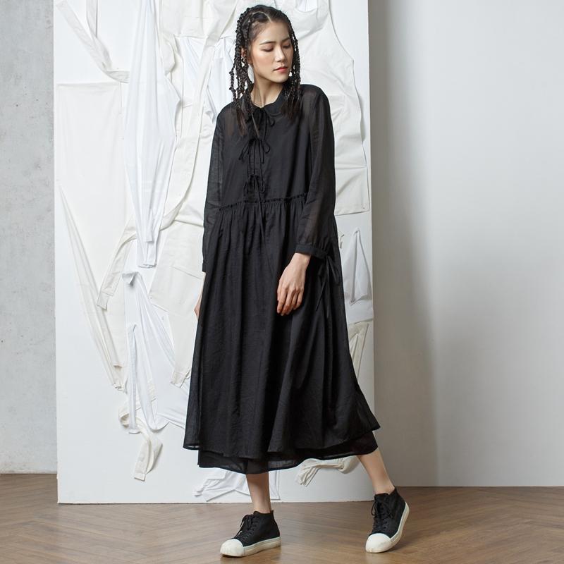 马可未设计师女装2017秋季新品复古衬衫领连衣裙拼接假两件中长裙图片