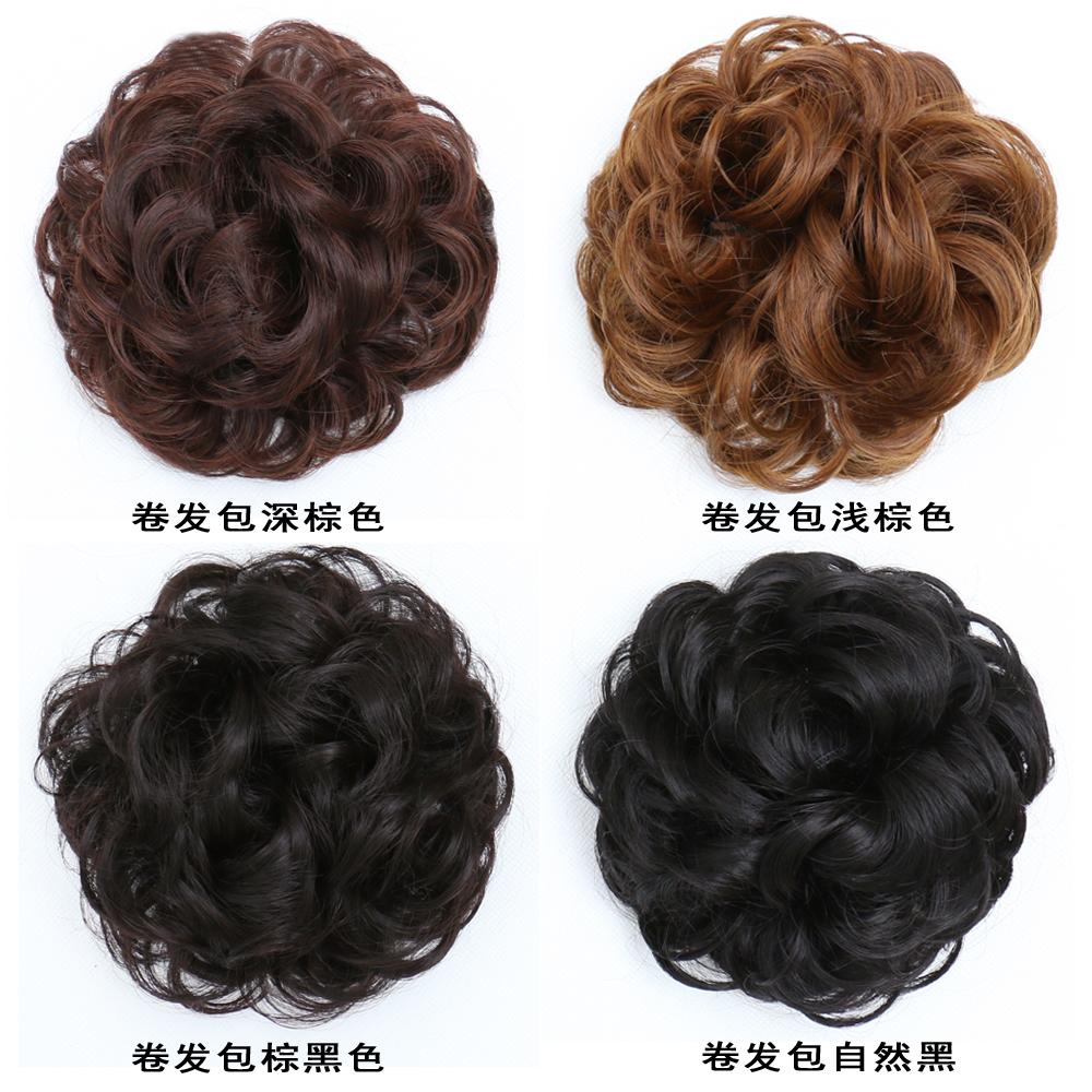 韩系半丸子头假发包花苞头发圈古装头饰自然盘发仿真发假发