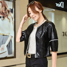 Cool gamma autumn fashion solid color five-point sleeves solid color zipper short leather 8675