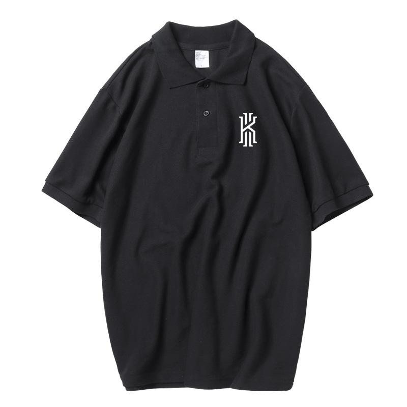运动polo衫翻领男宽松潮牌t恤篮球凯里欧文bf原宿风200斤大码短袖