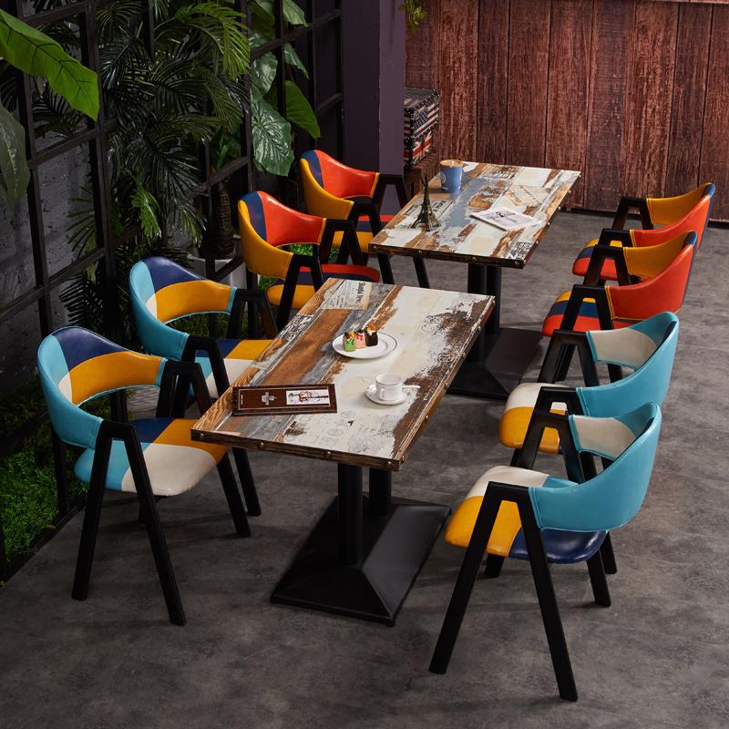奶茶店桌椅组合 简约清新休闲2人甜品店西餐厅酒吧咖啡厅小方桌
