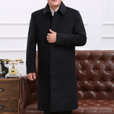 70-year-old 60 spring and autumn windbreaker jacket long woolen coat elderly men's autumn and winter thickening 80 grandfather